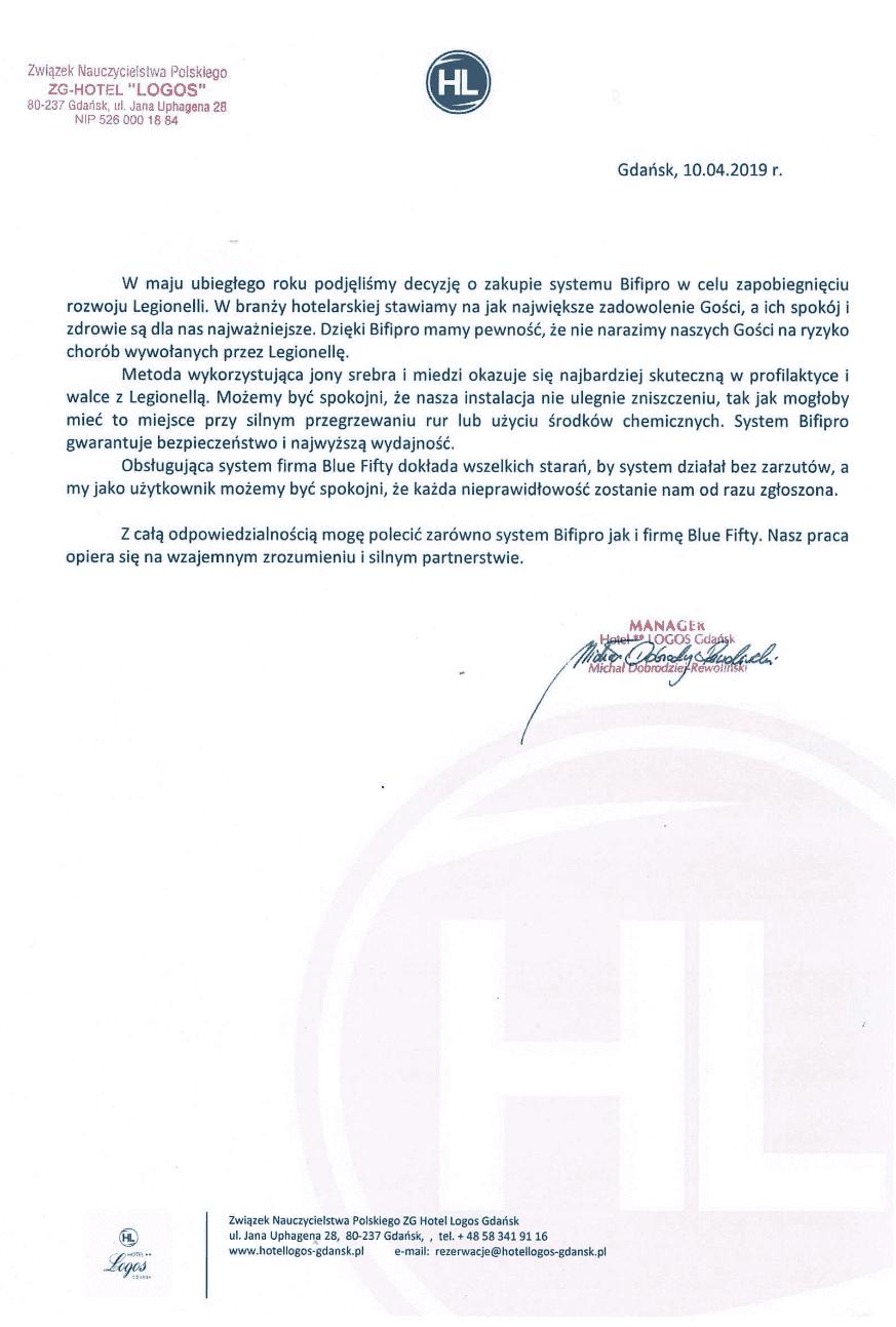 Hotol Logos Gdańsk referencje - usuwanie legionelli