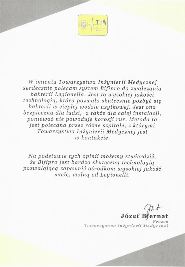 Referencje - Towarzystwo Inżynierii Medycznej - usuwanie legionelli