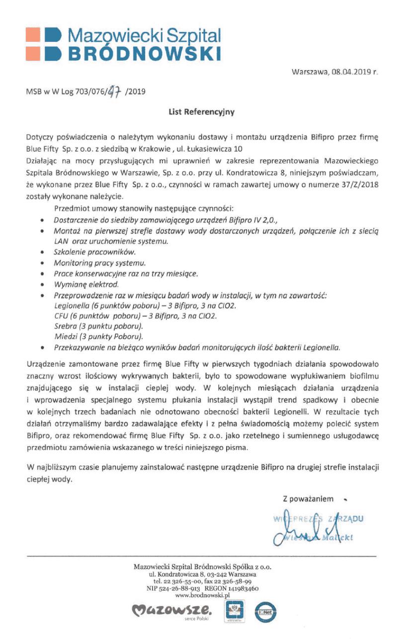 Referencje Szpital Bródnowski - usuwanie legionelli