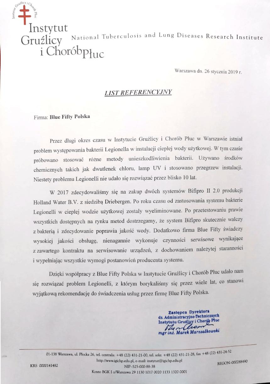 instytut gruzlicy i chorob pluc referencje bifipro