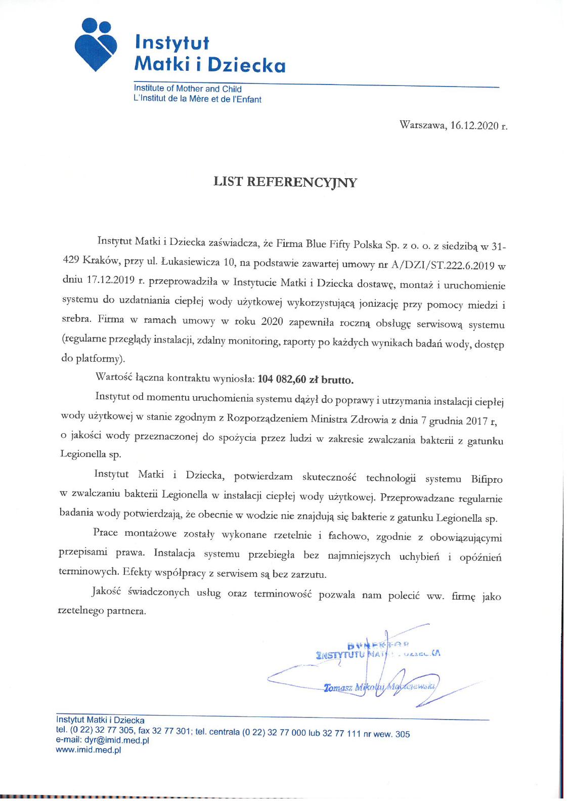 list referencyjny instytut matki i dziecka