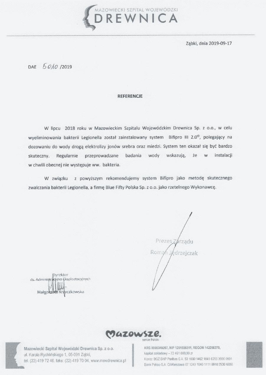 Referencje Szpital Drewnica - usuwanie legionelli
