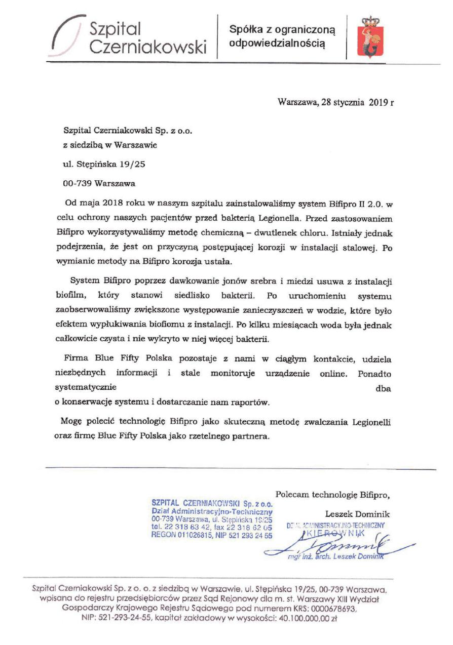 Referencje Szpital Czerniakowski - usuwanie legionelli